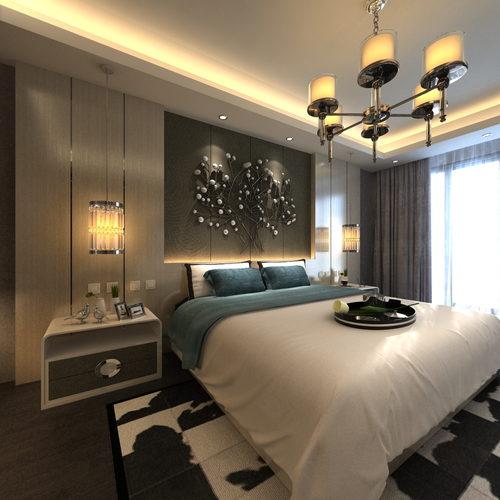 现代简约时尚样板房卧室空间设计