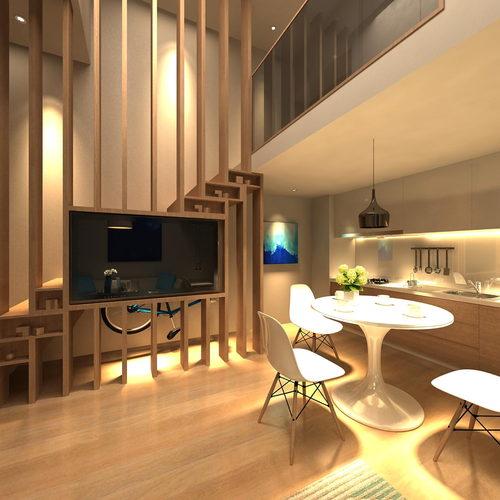 现代复式住宅客餐厅厨房组合