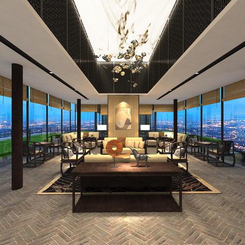 新中式会所沙发茶几装饰柜组合