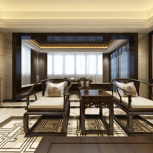 新中式风格客厅全景