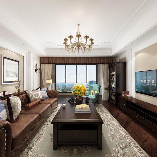 美式风格客厅全景