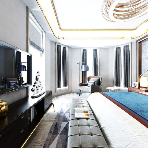 現代臥室全景
